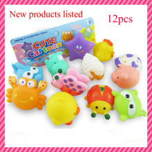 2016 new 12Pcs Lovely Mixed Animals Colorful Soft Rubber Float Squeeze Sound Squeaky Bathing Toy For Baby(China (Mainland))