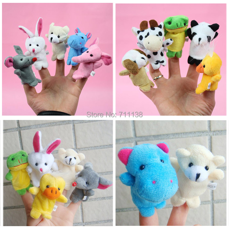 10 pcs Stuffed animals doll / baby finger Mini Lovely Soft Hand Puppets Plush Small Toy Finger Dolls Cartoon Gift Kids Toys(China (Mainland))