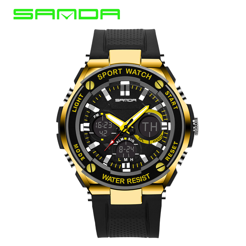 2016 New SANDA Luxury Brand Men Military Sports Watches Waterproof LED Date Silicone Digital Watch For Men G style digital-watch(China (Mainland))
