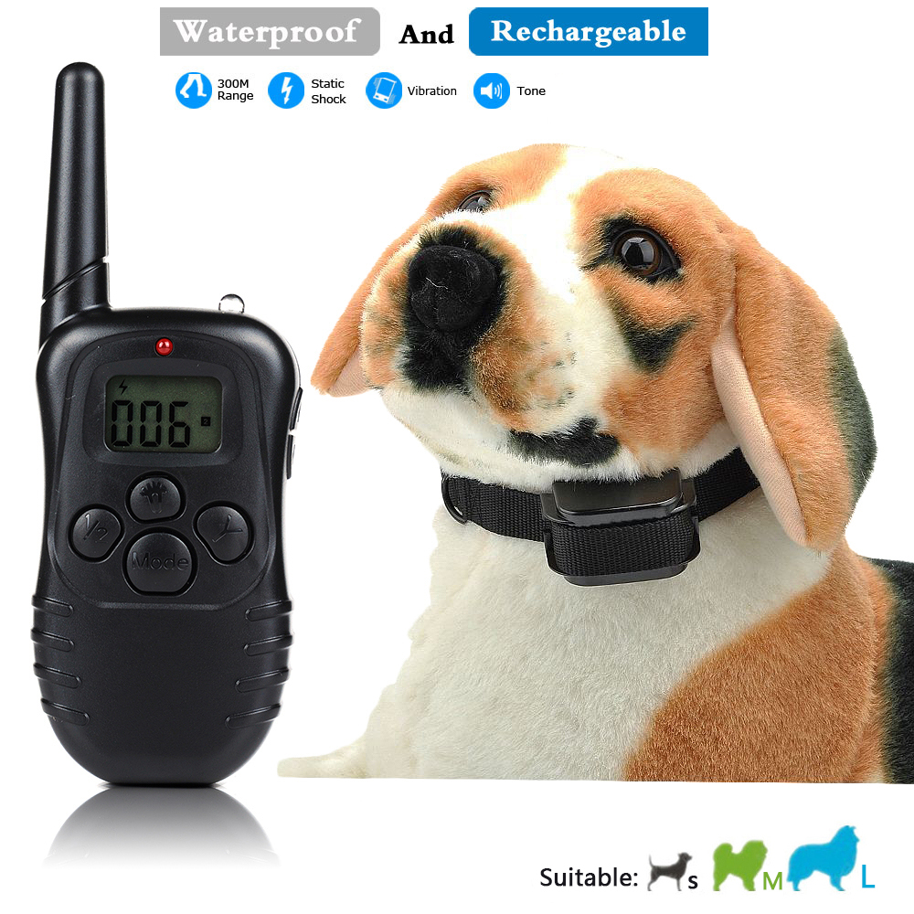 Rechargeable and Waterproof 300meters Remote Electric Shock Anti-bark Pet Dog Training Collar with LCD display(China (Mainland))