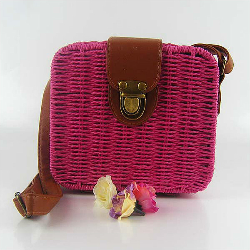 Star Women's Classic Straw Summer Beach Sea Shoulder Bag Handbag Tote For Holiday Free Shiping(China (Mainland))