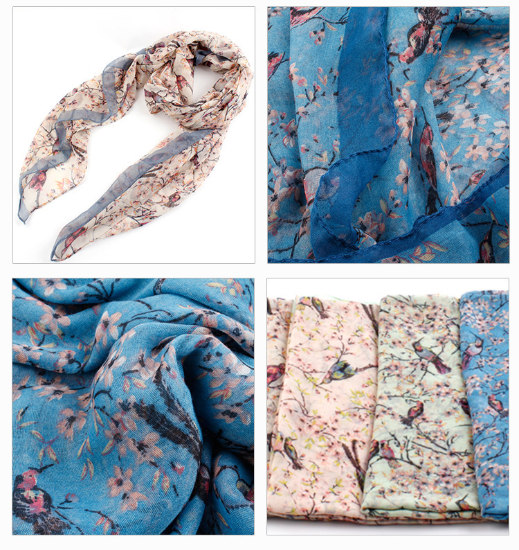 2015 Fashion Colorful Tree Branch and Birds Printed Scarf Wrap Shawl Polyester Scarfs For Women/Girls , Free Shipping(China (Mainland))