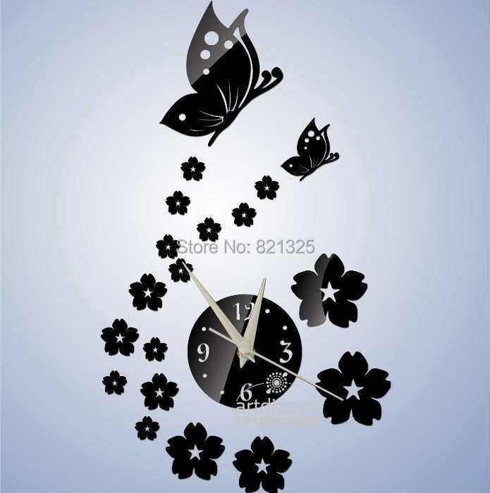 2014 Modern Mirror Wall Clocks Lovely Butterfly Flowers Slient Unique Christmas Gift Children Room Art Watches - AL Home Decoration Co.,LTD store