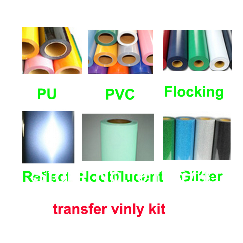 Fast Free shipping DISCOUNT 13 meters heat transfer vinyl kit PU PVC flocking glitter noctiflucent reflect vinyl cutting plotter(China (Mainland))