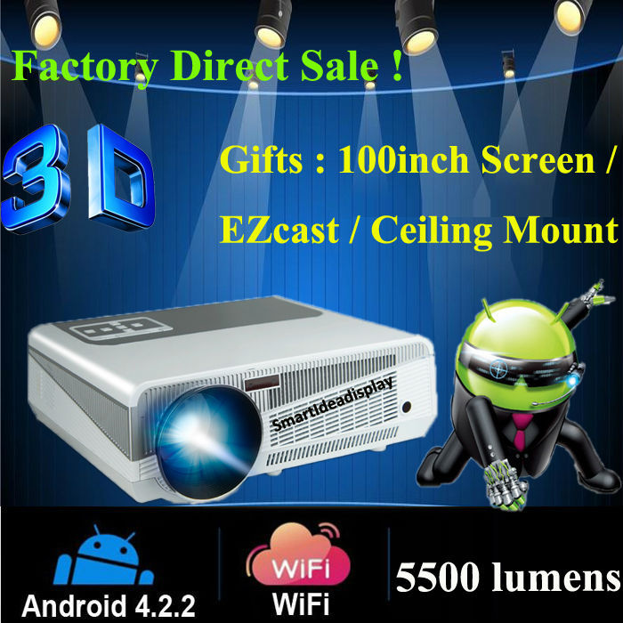 2015 5500lumens Android 4.2 HD LED Wifi Smart Projector 230W LED Lamp 3D home theater LCD Video Proyector Projektor TV Beamer(China (Mainland))