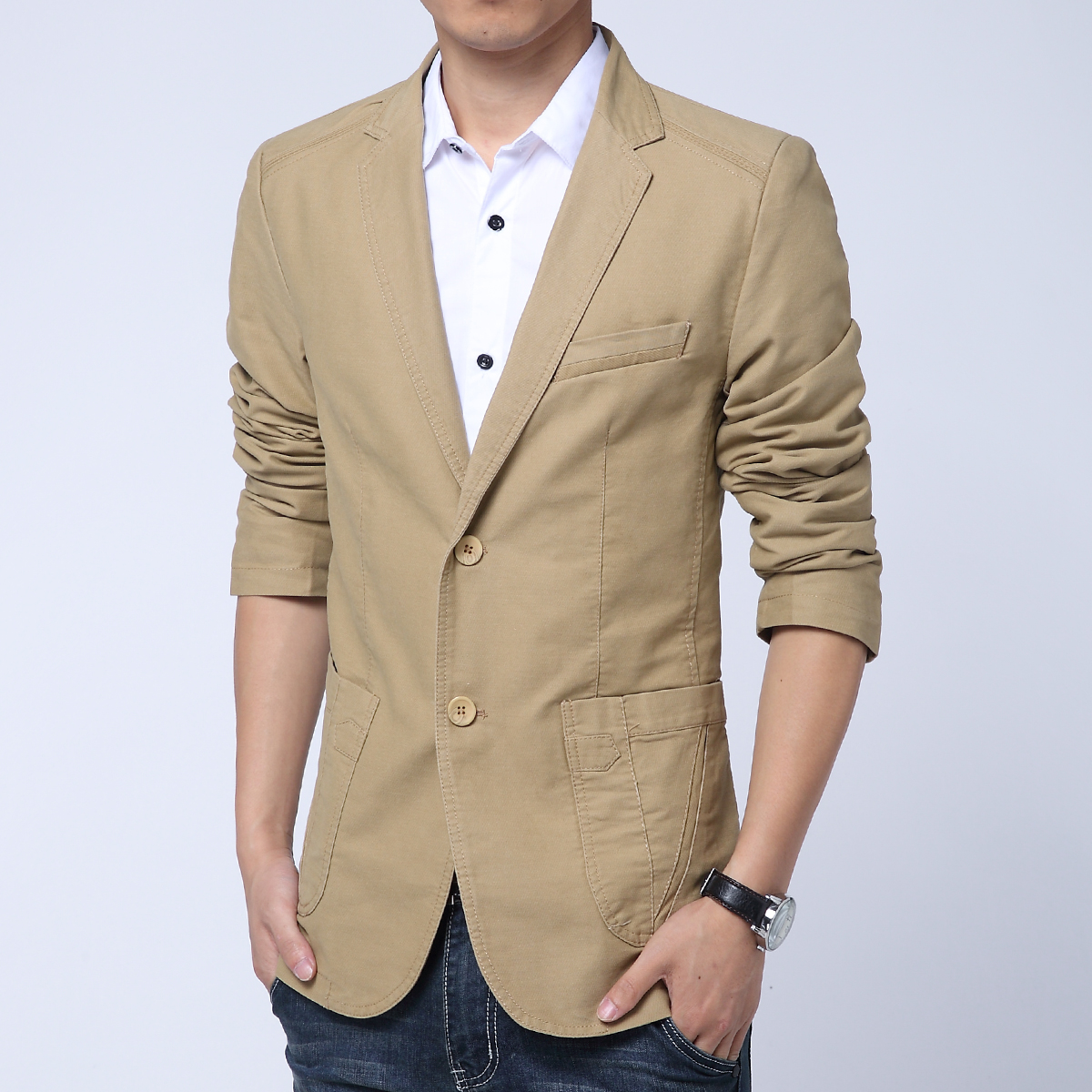 2015 New Arrival Hot Sale!Fashion Youth Pure Color Casual Blazer Men,Long Sleeves Slim fit blazer masculino,Three color men suit(China (Mainland))