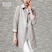 Black/Grey genuine leather coats women 100%Lambskin windbreaker 2 patch pockets streight long trench coat Free shipping LT183(China (Mainland))