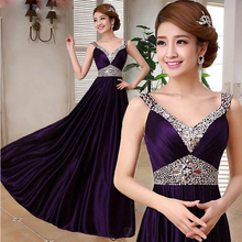 2015 Double-Shoulder V-Neck Silk Beading Purple Evening Dress Bride Slim Wedding Party Dress(China (Mainland))