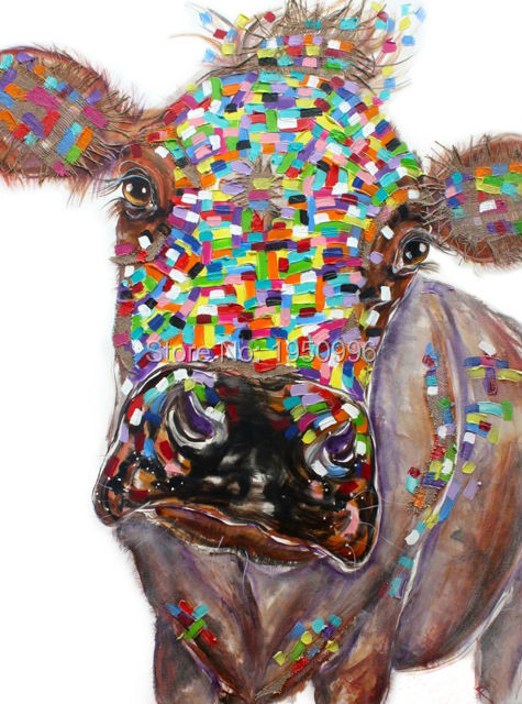 high skilled brown cow picture oil painting hand painted oil painting canvas colorful knife cow animal home decor wall art(China (Mainland))