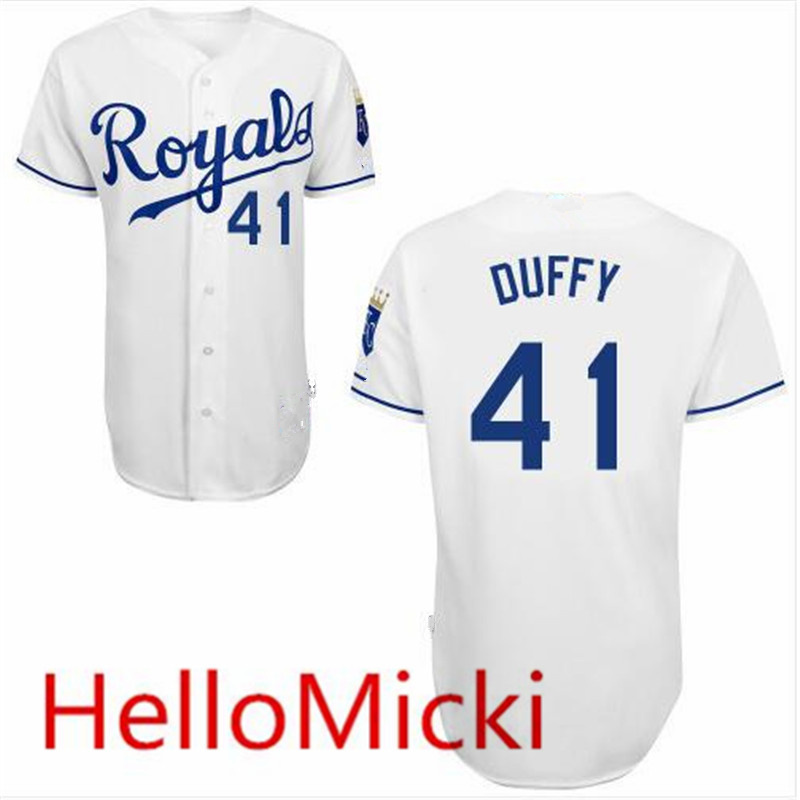 New fabric ! Mens cheap #41 Danny Duffy 2015 cool base Jersey Home white Danny Duffy Baseball Jersey(China (Mainland))