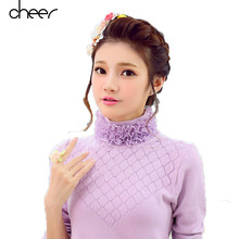 Lace Turtleneck Fitness Knitted Women Korean Sweaters And Pullovers Cute Winter Warm Knitwear Pull Femme Hiver Jumper(China (Mainland))