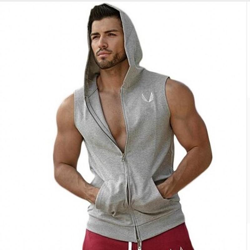 New Men Hoodie Gym Brand Sweatshirts Fitness Workout Sports Sleeveless Tees Shirt Cotton Vest Singlets Hooded Undershirt Outdoor(China (Mainland))