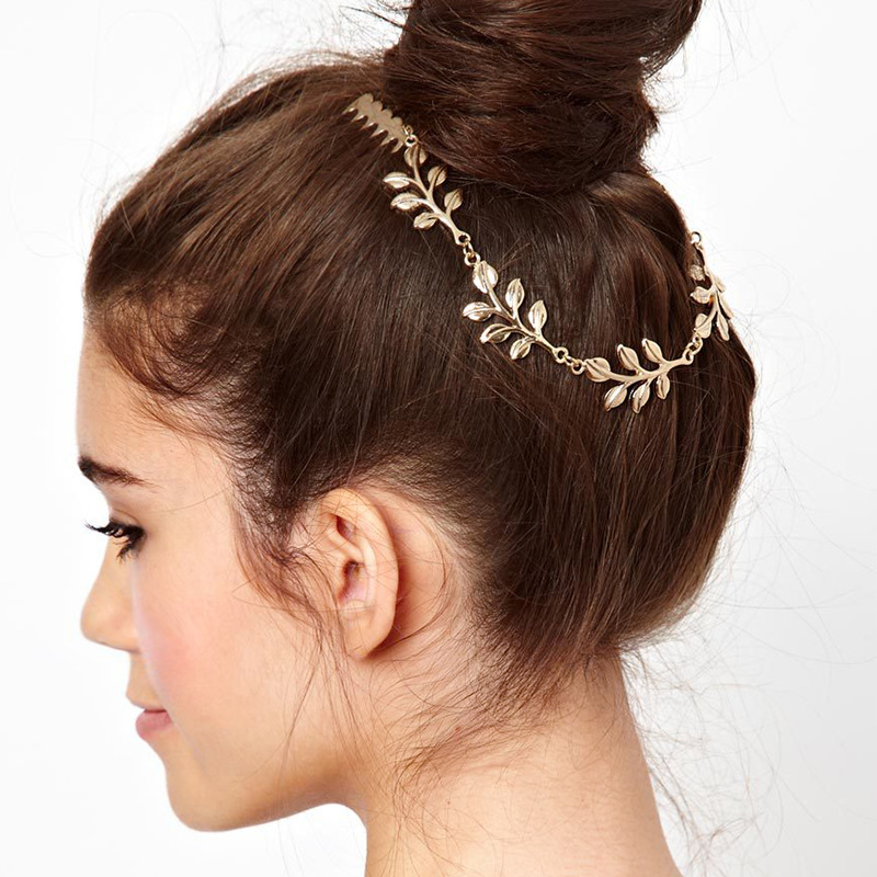 Vogue Womens Gold Plated Vogue Hanging Chain Connect Hair CombClip Piece Tassel Headpiece For Wedding(China (Mainland))