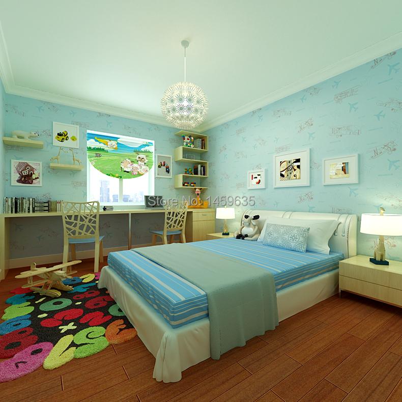 aliexpresscom buy non woven blue green beige small plane boys and girls children - Chambre Bleu Vert