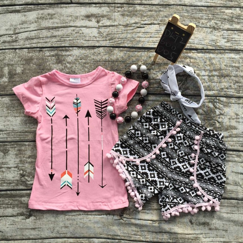 2016 Summer baby child girls outfits pink arrow shorts boutique clothes kids sets matching necklace and headband