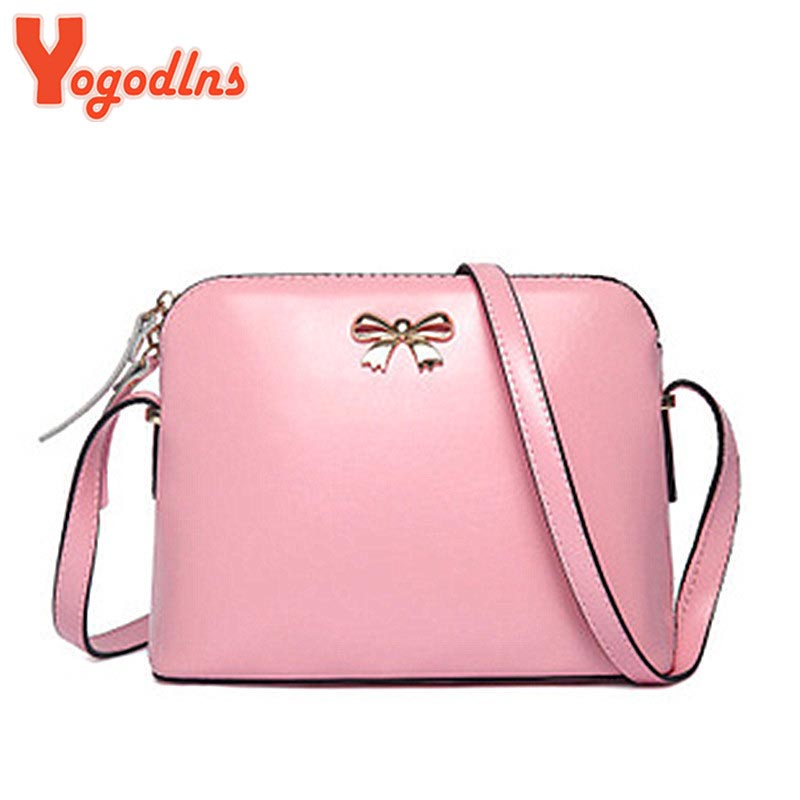 Yogodlns New Women Leather Handbag Fashion Girls Messenger Bags Candy Color Crossbody Shoulder Bag Shell Small Size Black Pink(China (Mainland))