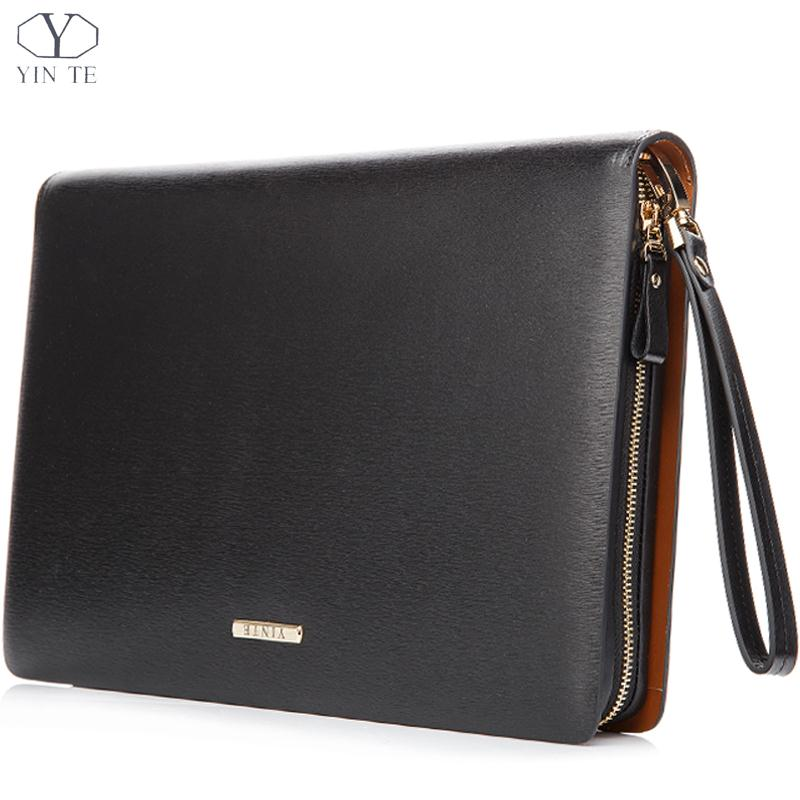 Men Genuine Leather Folder Bag A4 Paper For Document Famous Brand Fashion Zipple Wallet Bussiness Office Bag Two Color TP5481(China (Mainland))