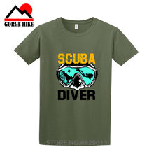 Cool Scuba Diver T-shirt Tee Divinger Dive Grappige Verjaardagscadeau Aanwezig Oceaan Zuurstof Figuur Pak Mannen Masker T-shirt Korte mouw(China)