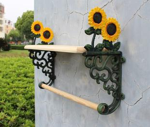 Country Sunflower Wrought Iron Towel Rack With Shelf Bath Accessories Towel Holder Free Shipping