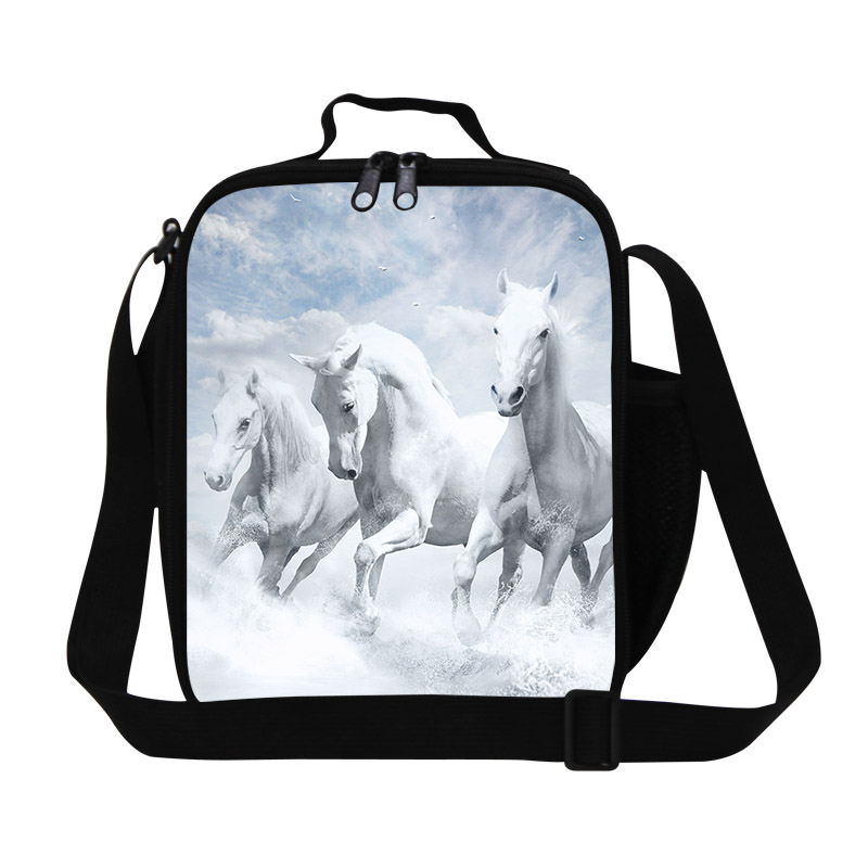 Hot Animal Lunch Bag For Kids Horses 3D Print Lunchbox For Boys Personalized Insulated Lunch Bag Students Shoulder Food Bag(China (Mainland))