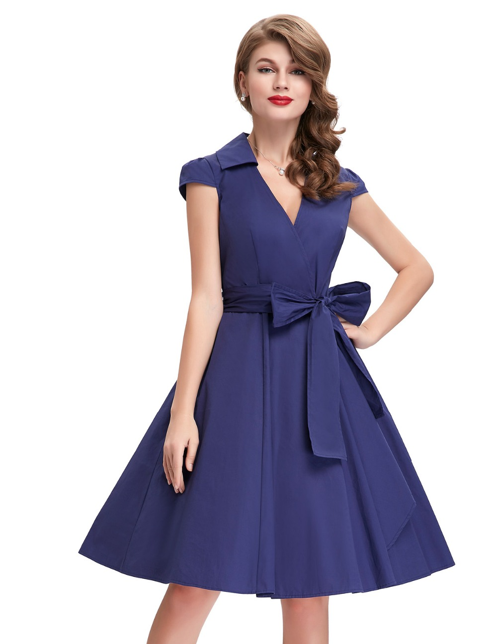 Wonderful KETTYMORE WOMENS ELEGANT LONG LENGTH PLEATED SKIRT STYLE DRESS BLUE - Kettymore