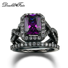 Buy Purple Crystal Fashion Ring Set Black Gold Color Crystal Engagement Jewelry Wedding Rings Women DFR480 for $4.08 in AliExpress store