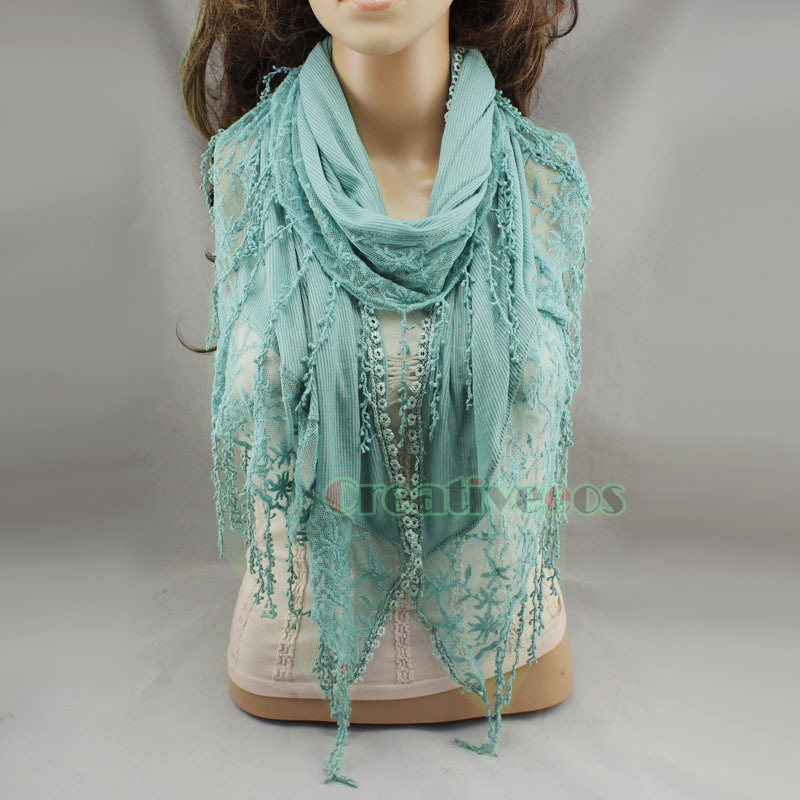 Comfortable Stripe Cotton Fabric Stitching Chic Embroidery Lace Floral Crochet Scarf Shawl Lace Trim Fun Long Tassel New(China (Mainland))