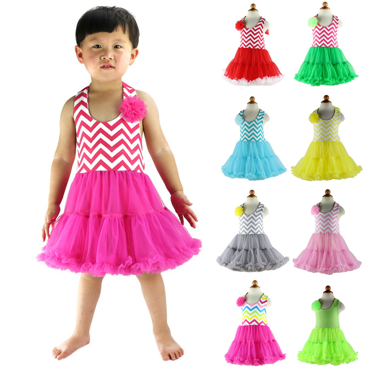 2016 New Arrival Promotion Draped Regular Silk Wholesale Summer Girls Petti Dresses Baby Girl Chevron Dress Party Free Shipping(China (Mainland))
