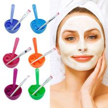 1Set New 4 in1 Makeup Beauty DIY Facial Face Mask Bowl Brush Spoon Stick Tool Set(China (Mainland))