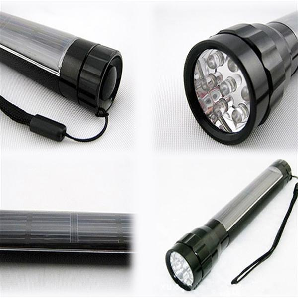 2015 Emergency home Camping use Aluminum Alloy solar led flashlight hunting lights Rechargeable 7led solar torch light(China (Mainland))