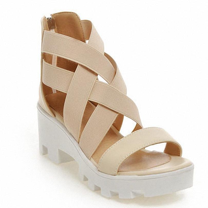 ENMAYER new size 34-43 Gladiator Cross straps Sandals Fashion High-heeled Sandals Summer Shoes Women Open Toe Platform Sandals<br><br>Aliexpress