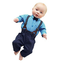 Feitong 2016 Kids Baby Boys Clothing Sets For Boys British Style Suits Pants Sets Plaid Shirt Tops+Bib Pants Overall Outfits New(China (Mainland))