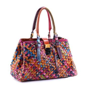 Многоцветный натуральная кожа сумки переплетения сумки женщины в наплечная сумка сумка-мессенджер colorful сумочка женское