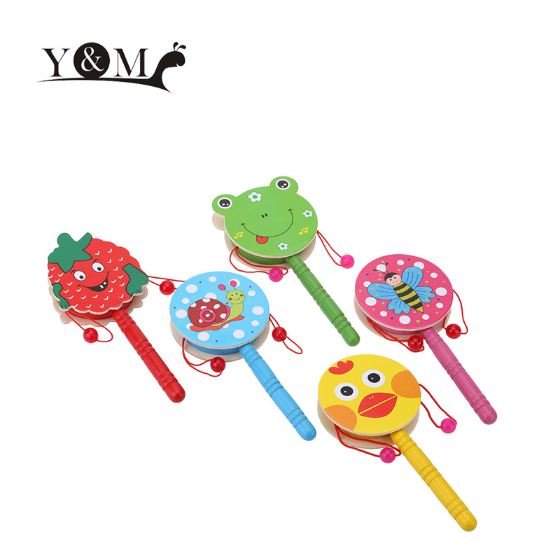 Colorful Hand Shaking Drum Kids Toys Cute Cartoon Wooden Hand Shaking Drum Rattle Sound Toy Musical Instrument for Baby Child(China (Mainland))