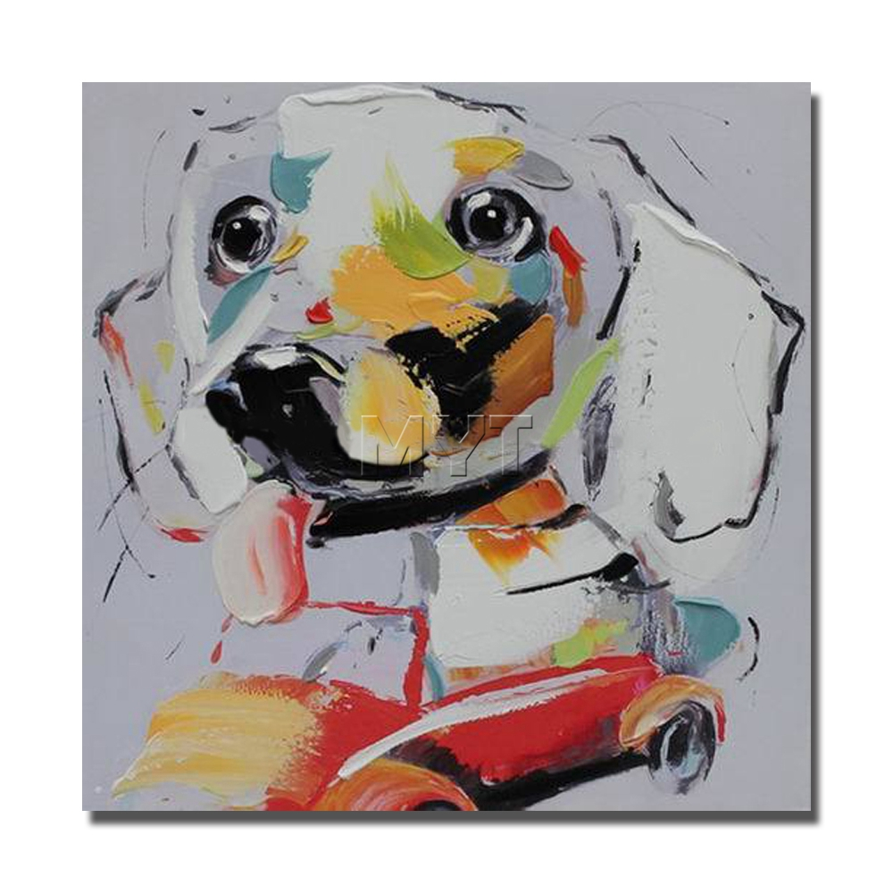 Funny Dog Drive Car Wall Painting Modern Decoration Wall Art Bedroom Decor Pictures High Quality Abstract Animal Oil Painting(China (Mainland))
