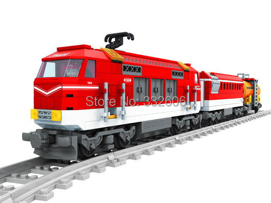 Hot Toys Kids Ausini Building Blocks City Series Train Tracks Railroad Conveyance Model Kits Christmas Gift - C&T store