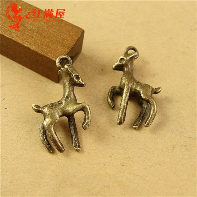 21*15MM Antique Bronze Retro sika deer charm beads mobile phone accessories zinc alloy, animal shaped jewelry, animal pendant(China (Mainland))