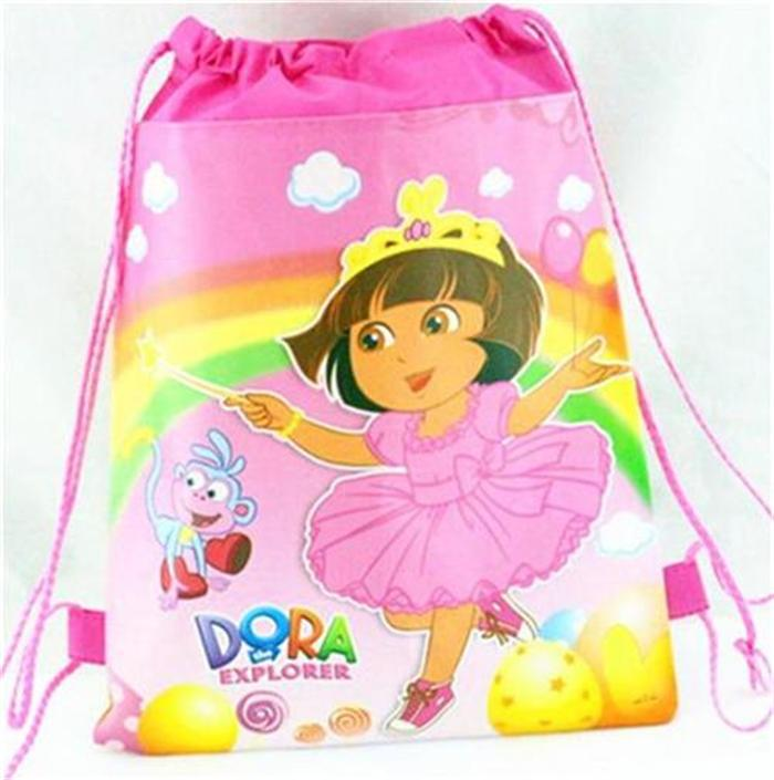new arrival children kids backpacks Non-woven fabric pocket Dora cartoon bag children's gift for girl(China (Mainland))