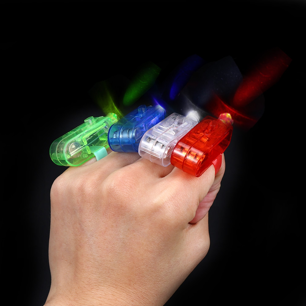Fetoo Wholesale Finger light up ring laser led rave party favors glow beams 4 pcs P50(China (Mainland))