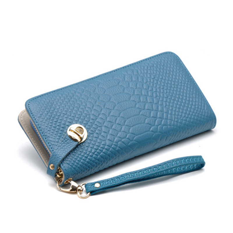 New Arrival Fashion Candy Color Women Long Wallets Vintage Alligator Genuine Leather Wallets Card Holder W-0096(China (Mainland))