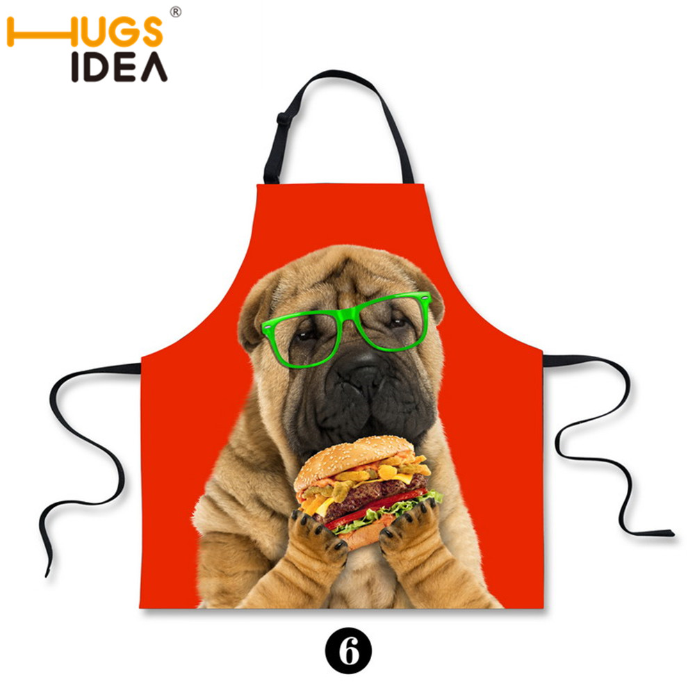 Fashion Funny Cat Printing Chef Aprons for Women Dog Puppy Animal Clear Adult Party Chef Aprons Sexy Kitchen Cook Apron(China (Mainland))