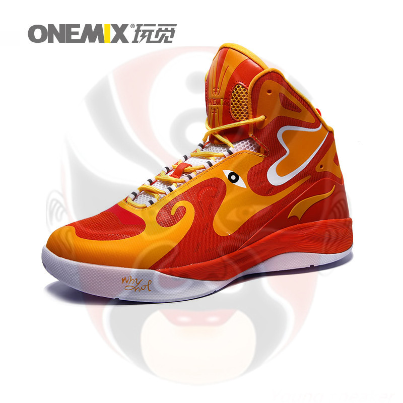 New Onemix Man Peking Opera Mask Ankle Boots Style Culture Basketball Shoes for Men Breathable High-Top Rubber Leather sneaker(China (Mainland))