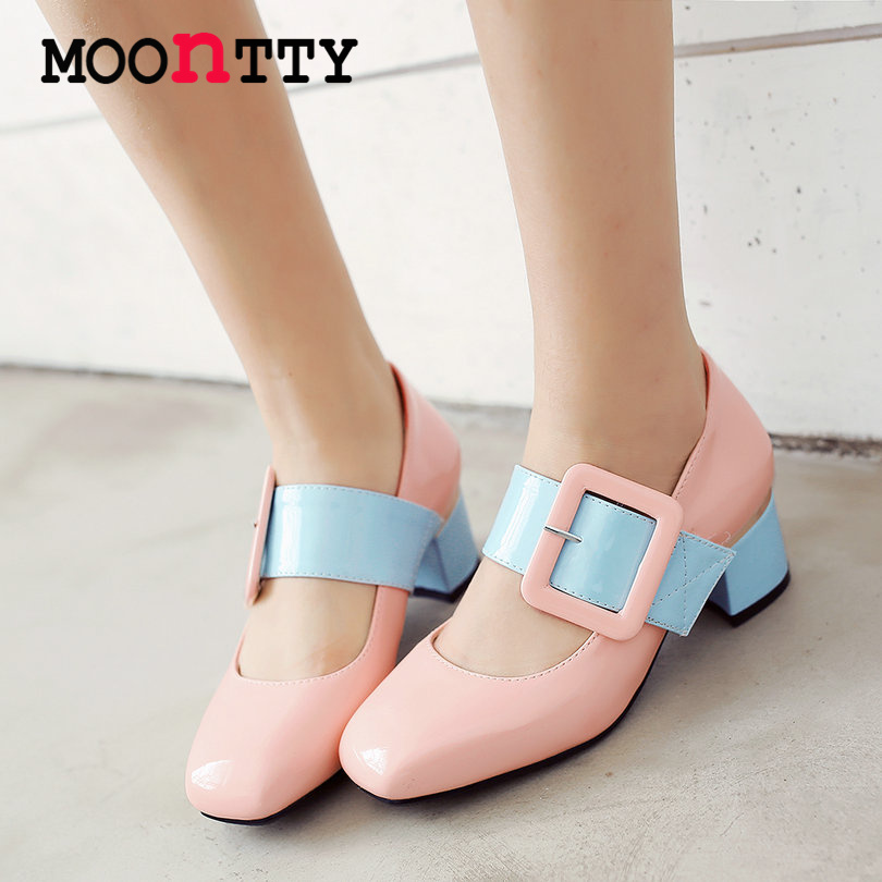 MOONTTY Buckle Strap Women Pumps Round Toe Mixed Color Mary Janes Square Heels Pu Patent Leather Autumn/Spring Lady Party Shoes
