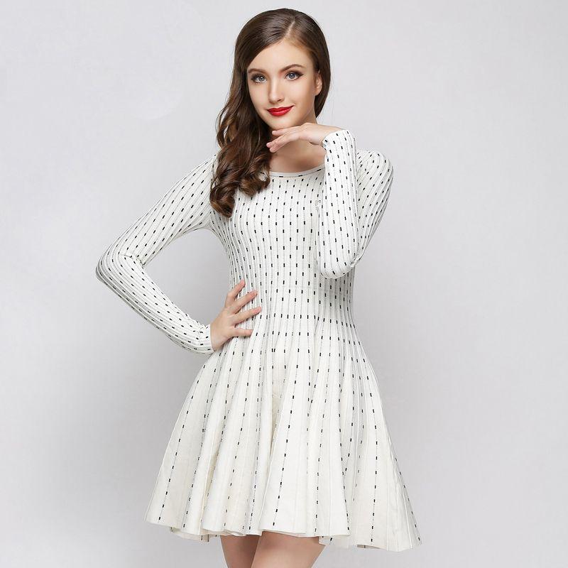 Knitting Dresses Women : Women autumn dress elastic contrast strings sweater