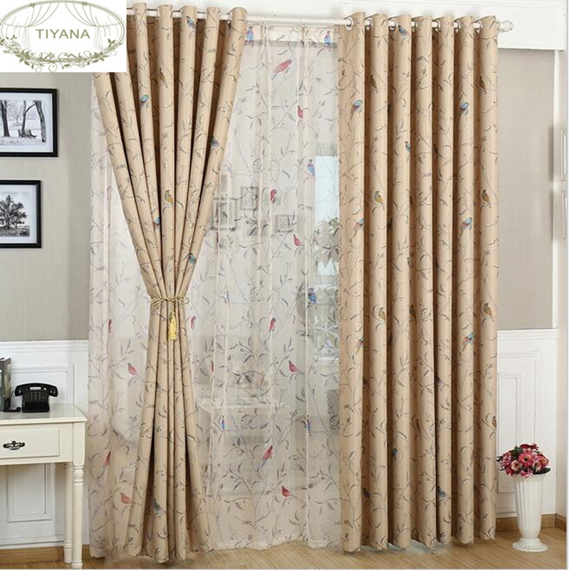 Korean Rustic Style Curtain With Cute Bird Pattern Blackout Coffee Color Kitchen Curtain For