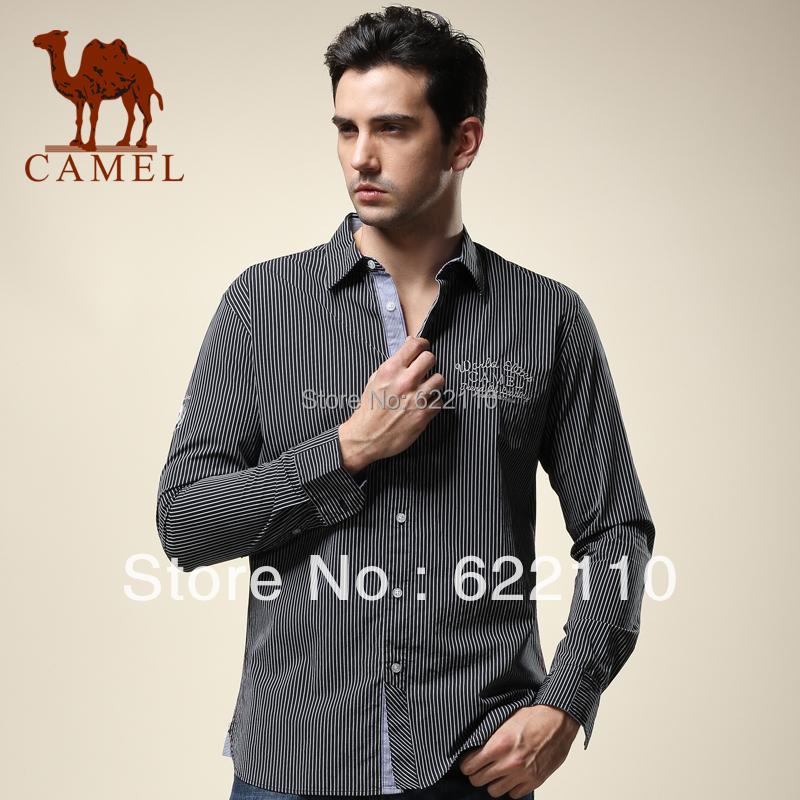 Верблюд мужской одежды осень 100% хлопок с длинными рукавами рубашки мужчины бизнес повседневный рубашки полосы