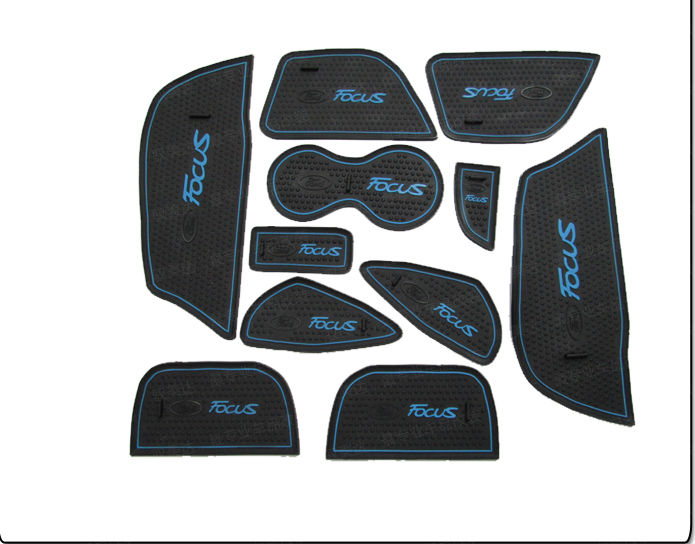 blue For Focus 2012 Car Non slip Interior Door Cup Holder Coins Mat Pad (11pcs)(China (Mainland))