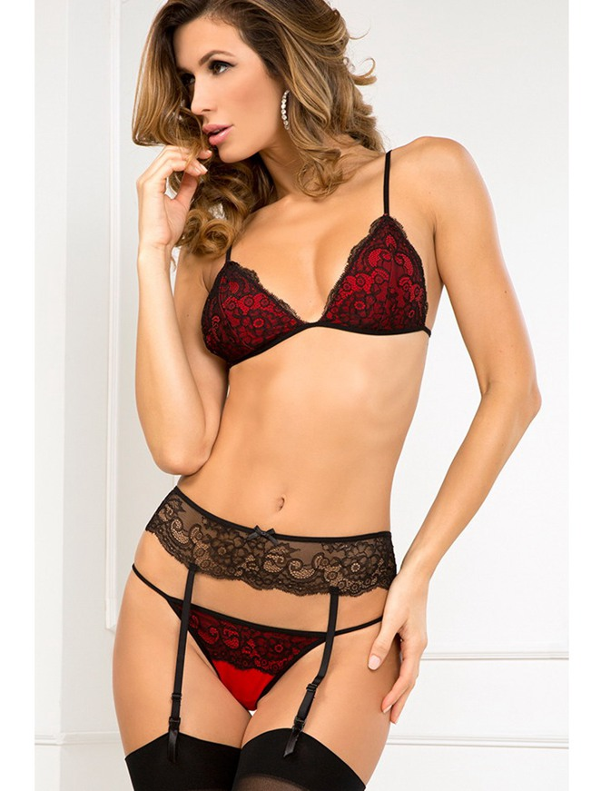 R80103 Hot sale bra with g string and garter sexy bra set new arrival lace sexy