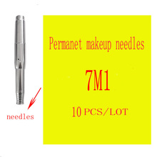 10piece lot 7M1 Disposable Sterilized Tattoo Permanent Makeup Pen Machine Needles Tips Supply for Eyebrow lip Single Package(China (Mainland))