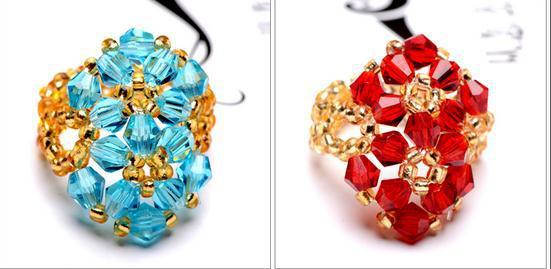multicolor  Hand-woven ring wholesale crystal ring double character flower ring